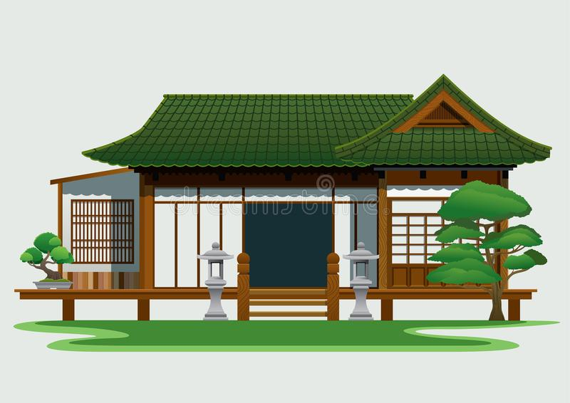 Traditionellt hus i Japan vektor illustrationer