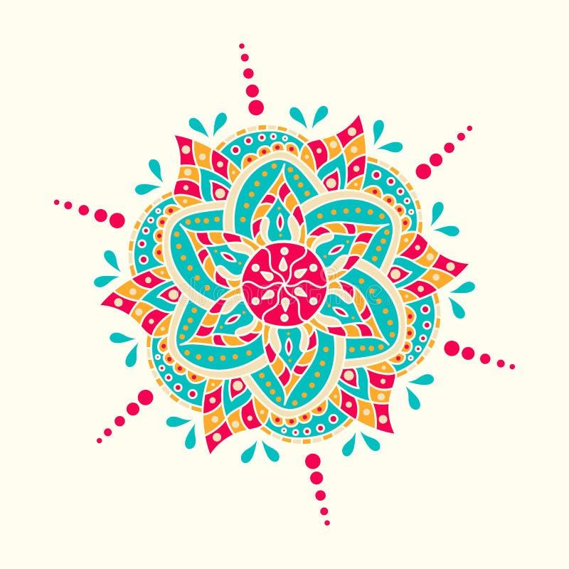 Traditionellt indiskt symbol Geometrisk dragen beståndsdel för cirkel hand Negro spiritual- och meditationsymbol Grafisk mall för royaltyfri illustrationer
