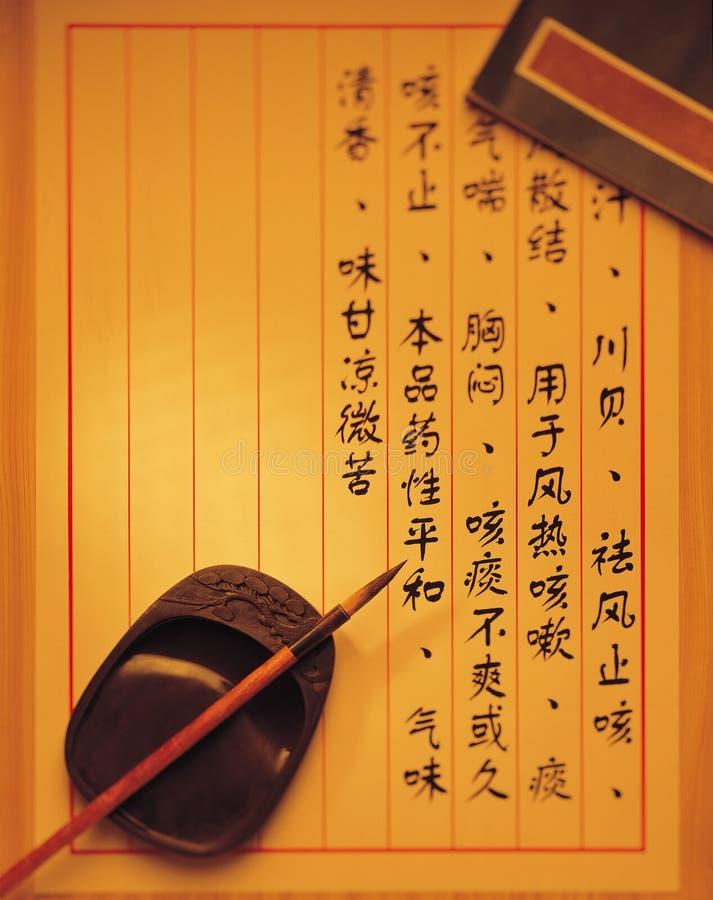 traditionellt kinesiskt medicinskt recept arkivbilder