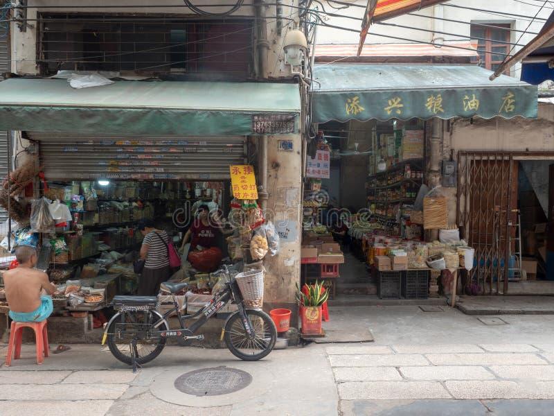 Traditionellt lager i den gamla staden av Guangzhou, Kina arkivfoton