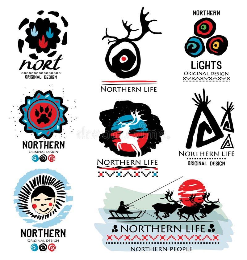 Traditionellt liv av nordligt folk Hjortlogo Nordlig logo Avlägsen norr logo royaltyfri illustrationer