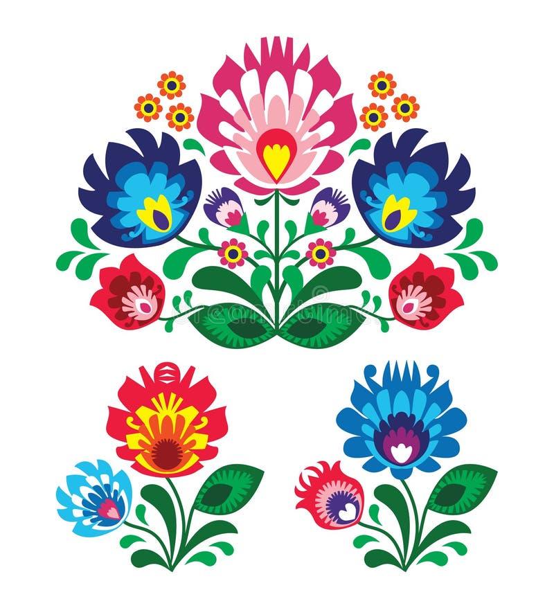 Polsk blom- folk broderi mönstrar stock illustrationer