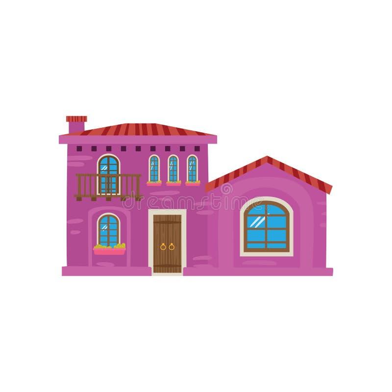 Traditionellt mexicanskt hus, Mexico - illustration för vektor för stadsfasadtecknad film stock illustrationer