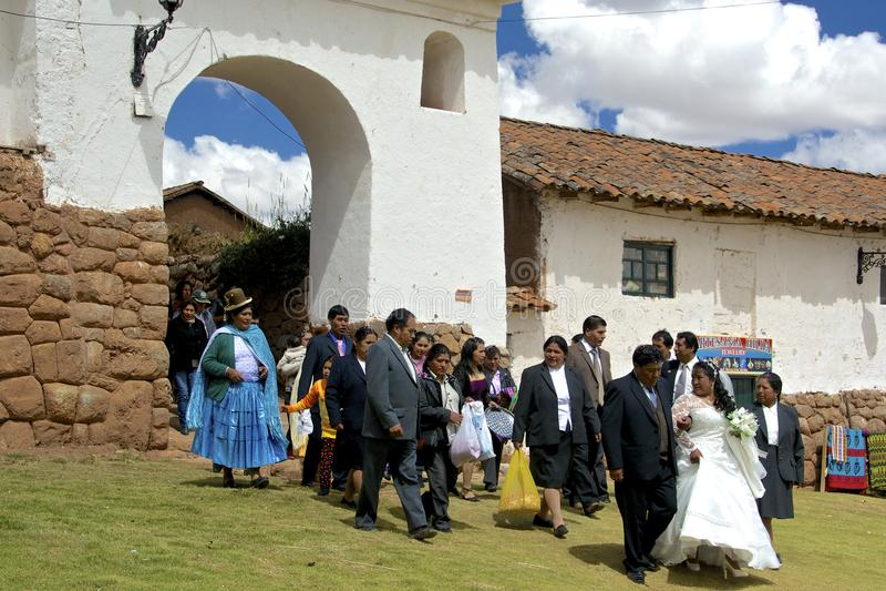 Traditionellt Quechua bröllop peru royaltyfri bild