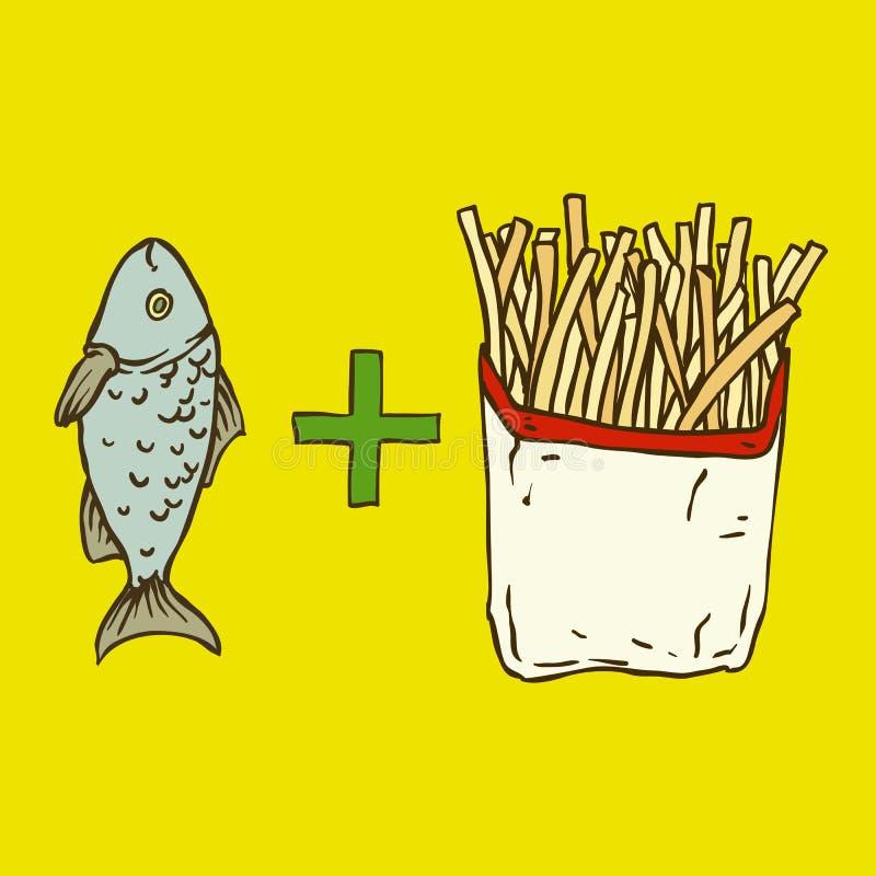 traditionellt trä för brittisk tabell för chipfiskmellanmål vektor illustrationer