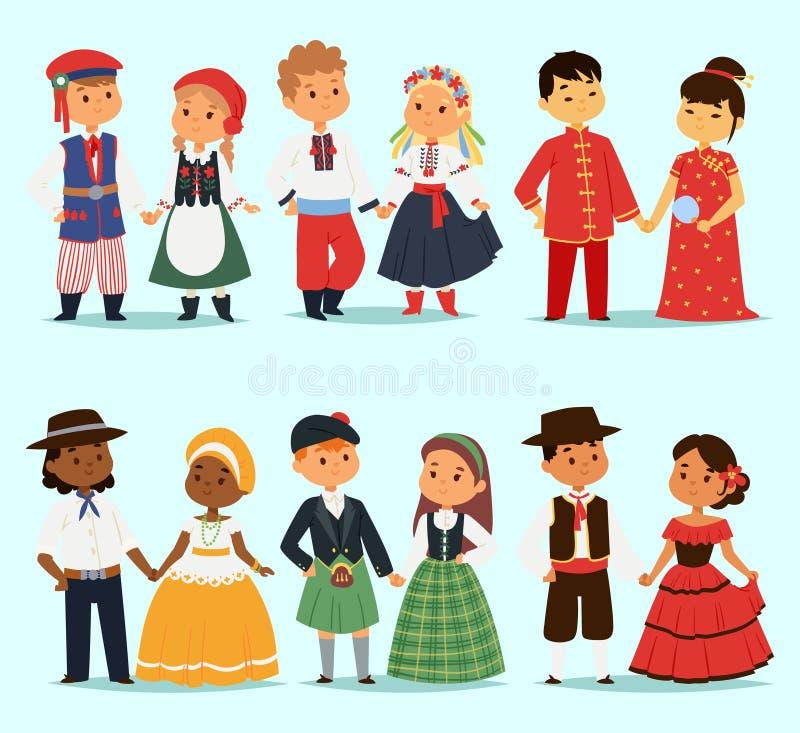 Traditionellt ungepartecken av världsklänningflickor och pojkar i olika nationella dräkter och gulliga små barn vektor illustrationer