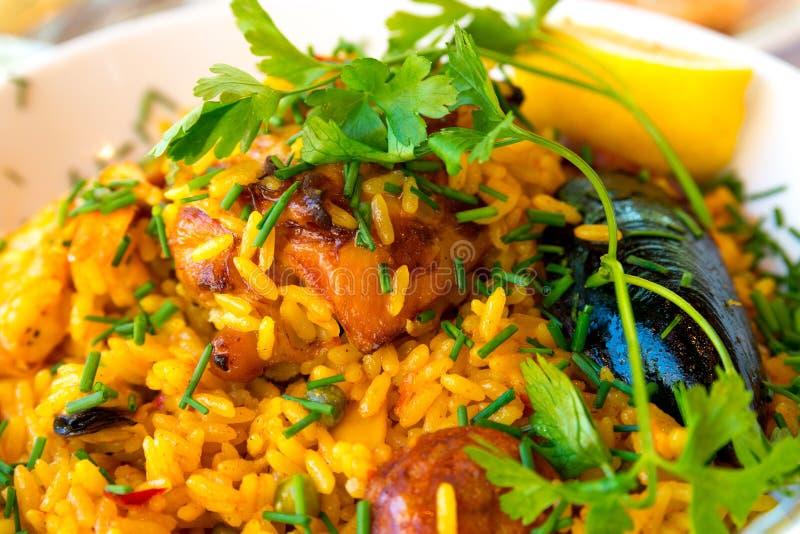 Traditionnal西班牙食物肉菜饭 免版税图库摄影