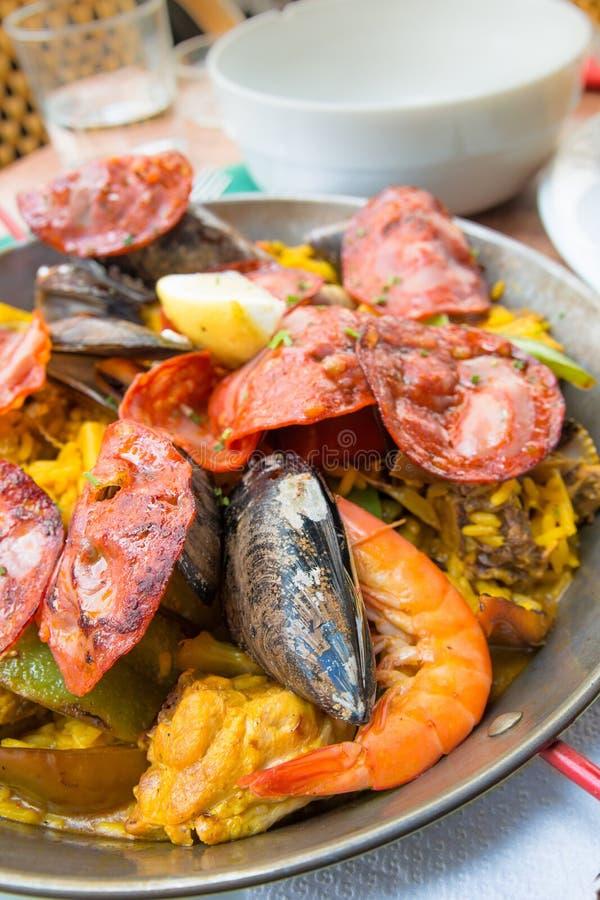 Traditionnal spanische Nahrungsmittelpaella stockfotos