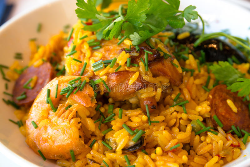 Traditionnal spanish food paella. Prawn with rice - closeup of prawn with rice - traditionnal spanish food paella royalty free stock photo