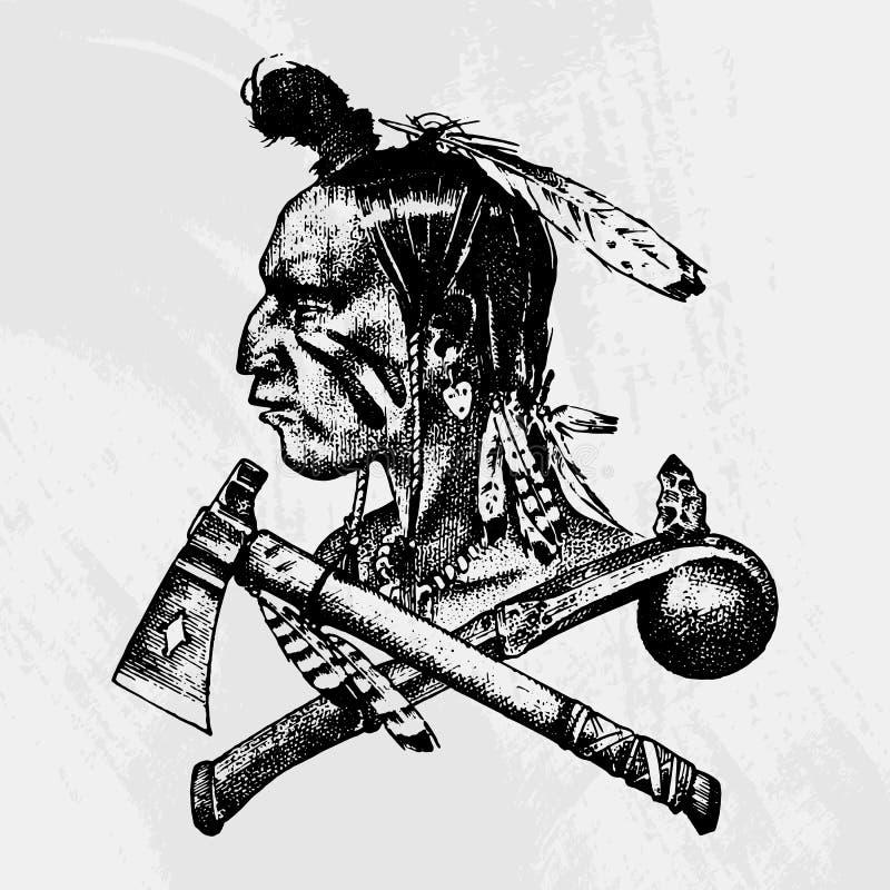 Traditions indiennes américaines et indigènes nationales Couteau et hache, outils et instruments gravé tiré par la main dans le v illustration stock