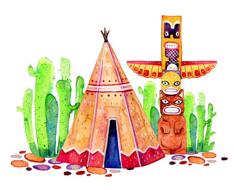 Traditionsregelung des amerikanischen Ureinwohners Tipi, Totempfahl und Kakteen Hand gezeichnete Aquarellillustration lizenzfreie abbildung