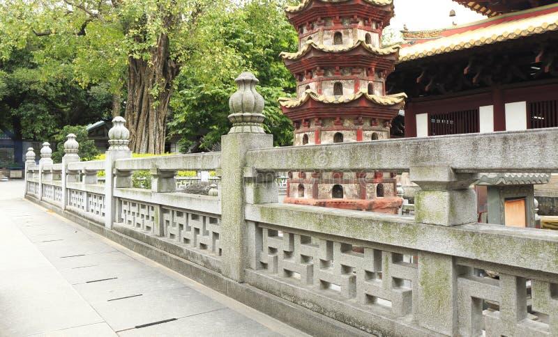 Traditonal kinesisk stenbalustrad med den klassiska modellen i trädgården, gamla marmorstenbaluster i asiatisk orientalisk klassi arkivfoton