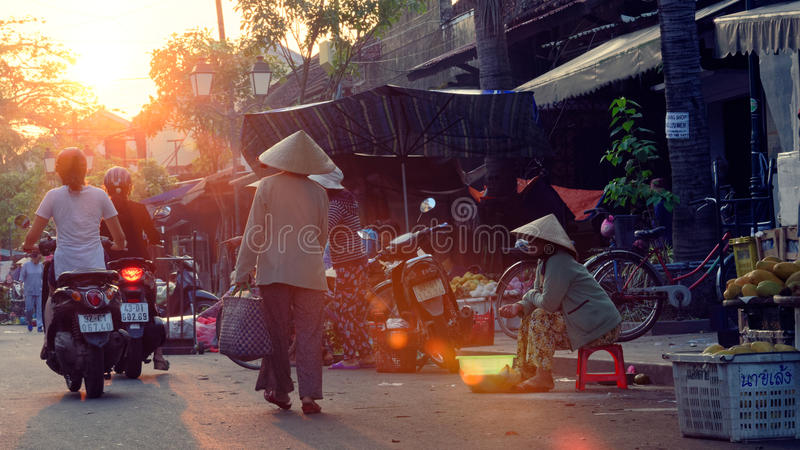 Traditonal market in Hoi An stock images