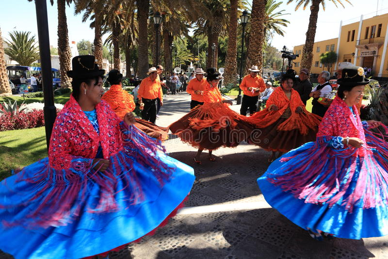 Traditonel Dancing Group in Arequipa royalty free stock photos