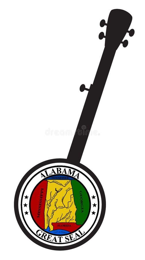 Tradizionale 5 Stringa Banjo Silhouette Con Icona Di Sigillo Statale Alabama illustrazione vettoriale