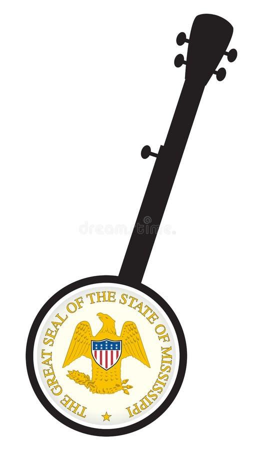 Tradizionale 5 Stringa Banjo Silhouette Con Icona Di Sigillo Stato Mississippi illustrazione di stock