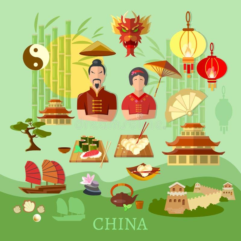 Tradizioni cinesi della Cina e concetto di viaggio della cultura illustrazione vettoriale