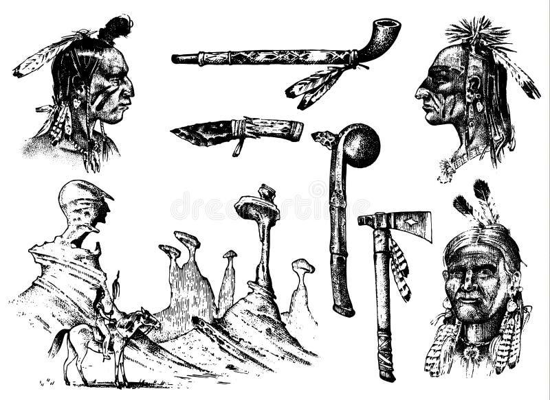 Tradizioni indiane fissate Paesaggio con le montagne Americano nazionale Macis, piume ed ascia, chanunpa o strumenti inciso illustrazione vettoriale