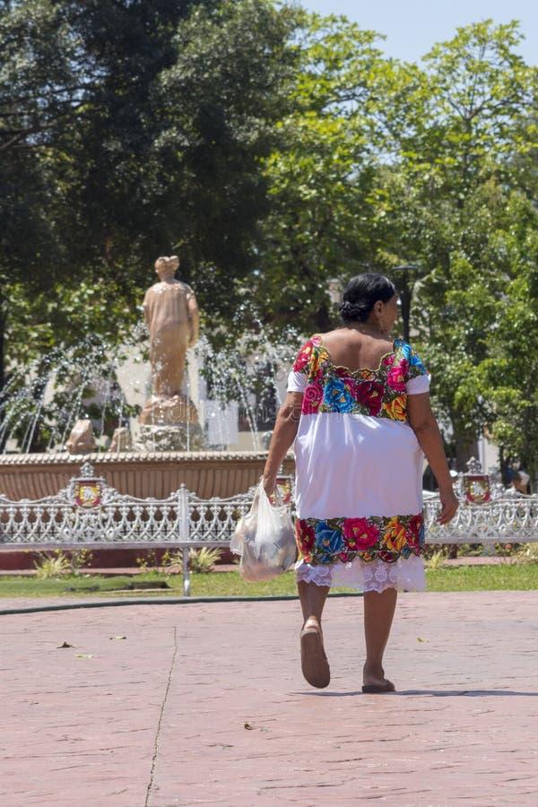 Tradizioni maya comprese in una donna non-sposata fotografia stock