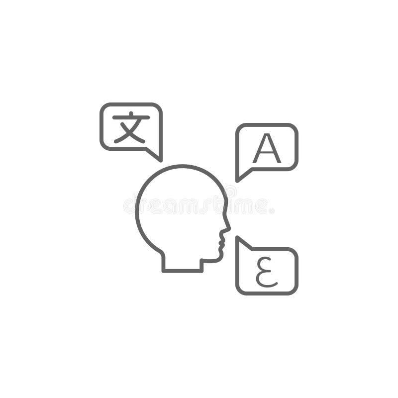 Tradução, ícone das línguas Elemento do ícone do tradutor Linha fina ?cone para o projeto do Web site e o desenvolvimento, desenv ilustração do vetor