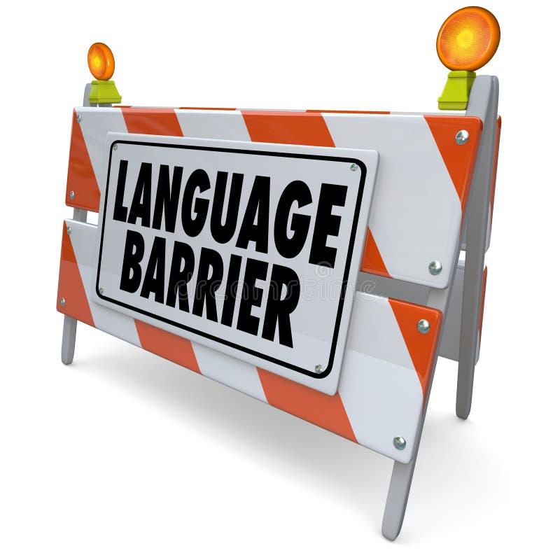A tradução da barreira linguística interpreta palavras do significado da mensagem ilustração royalty free