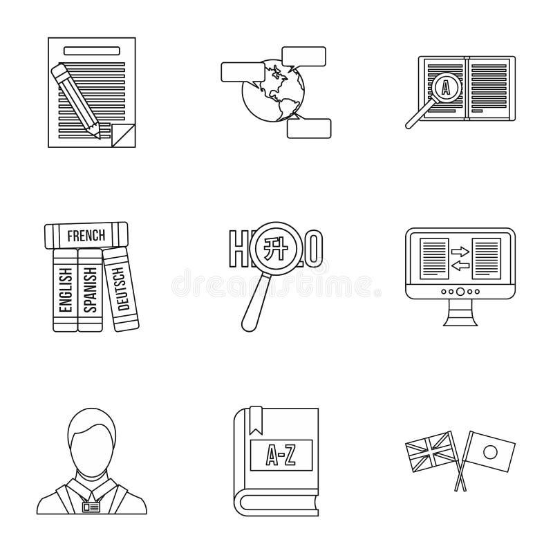 A tradução de ícones da língua ajustou, esboçou o estilo ilustração royalty free