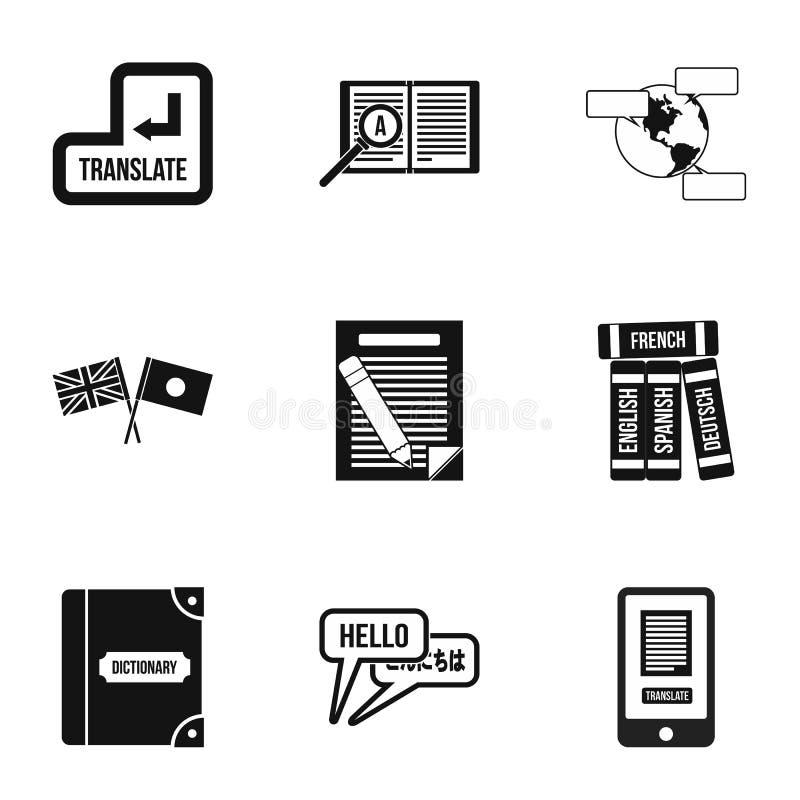 A tradução de ícones da língua ajustou-se, estilo simples ilustração stock