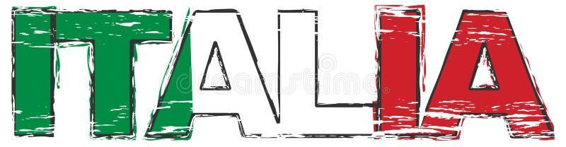 Tradução italiana de ITÁLIA com a bandeira nacional sob ela, olhar afligido de ITALIA da palavra do grunge ilustração stock