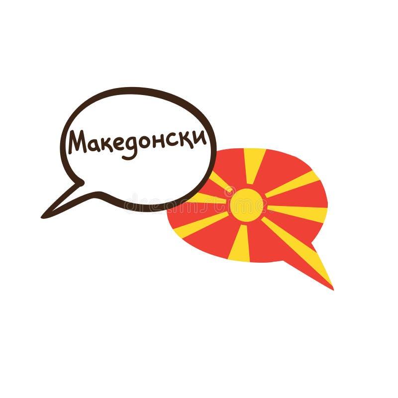 Tradução: Macedônio A ilustração do vetor do discurso tirado mão da garatuja borbulha com uma bandeira nacional do writte de Mace ilustração stock