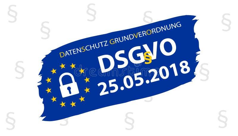 Traducción alemana de regla de la protección de datos general: Datenschutz-Grundverordnung DSGVO stock de ilustración