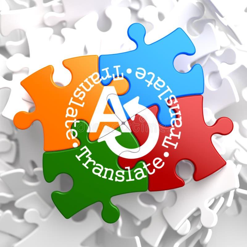 Traducir concepto en rompecabezas multicolor. ilustración del vector
