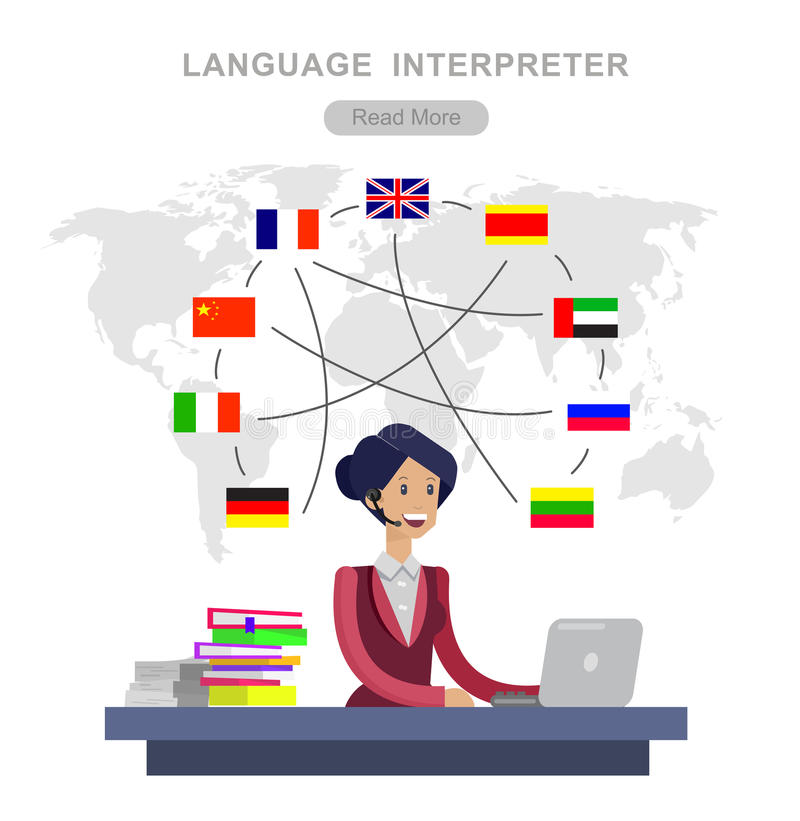 Traducteur détaillé de langue de caractère de vecteur illustration libre de droits
