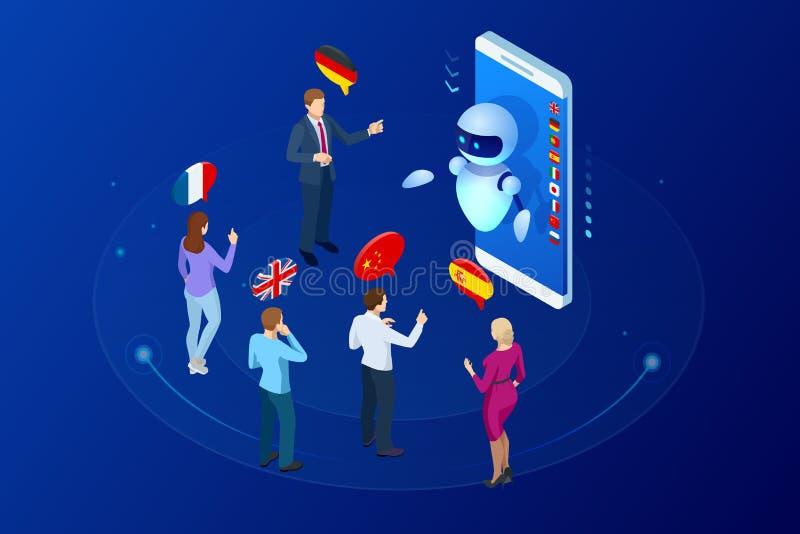 Traducteur en ligne isométrique de voix et étude du concept de langues L'apprentissage en ligne, traduisent les langues ou le gui illustration libre de droits
