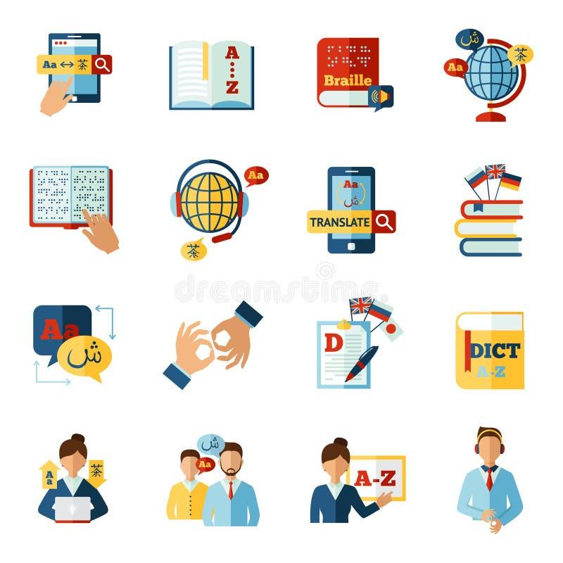 Traducteur Icons Set illustration libre de droits