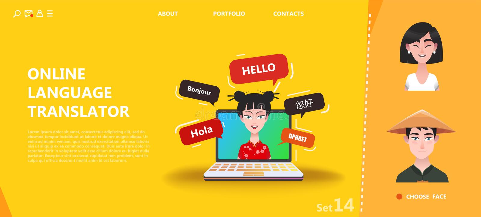 Traducteur multi en ligne de langue illustration stock