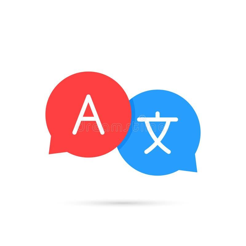 Traduction d'icône Traduction de bulles de causerie Communication, langue Logo de Web Illustration de vecteur illustration libre de droits