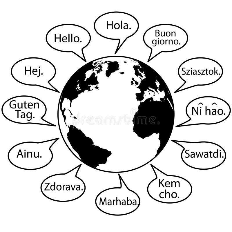 Traduza línguas da terra dizem olá! o mundo ilustração royalty free