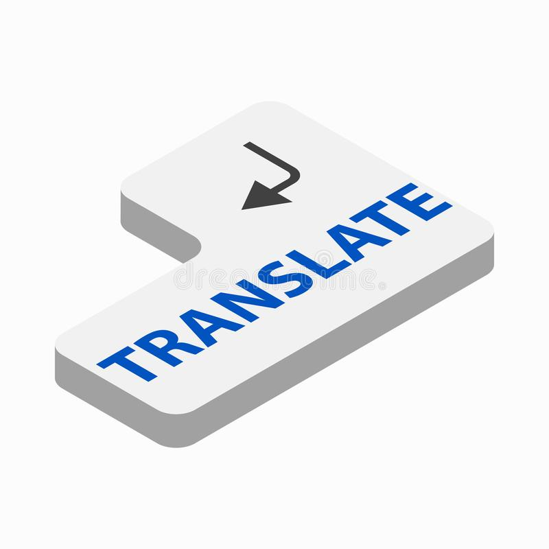Traduzca el icono del botón, estilo isométrico 3d stock de ilustración