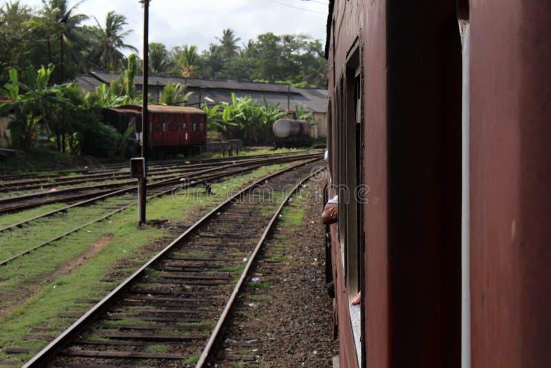 Traduzione: Dentro il treno sulla direzione da Galle a Colombo immagine stock libera da diritti