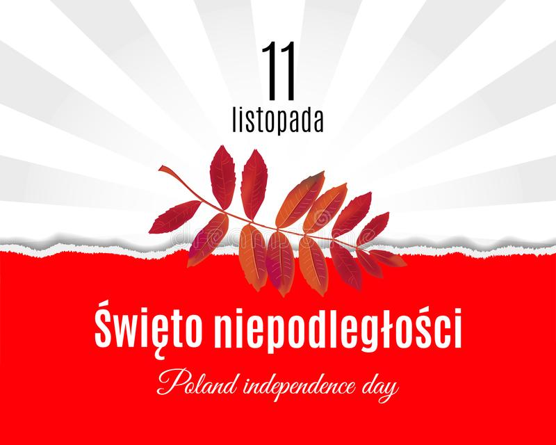 Traduzione nazionale di festa dell'indipendenza della Polonia su polacco La bandiera lacerata della Polonia della carta ed il car royalty illustrazione gratis