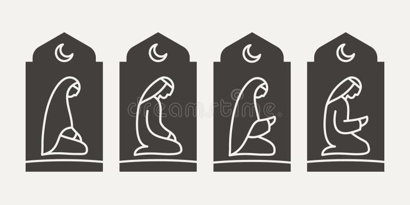 Tradycjonalnie okryty Muzułmański Arabski mężczyzna i kobieta robi suplice Salah na tle łukowaty otwarcie zdjęcia stock