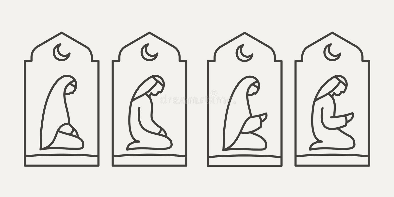 Tradycjonalnie okryty Muzułmański Arabski mężczyzna i kobieta robi suplice Salah na tle łukowaty otwarcie zdjęcie royalty free
