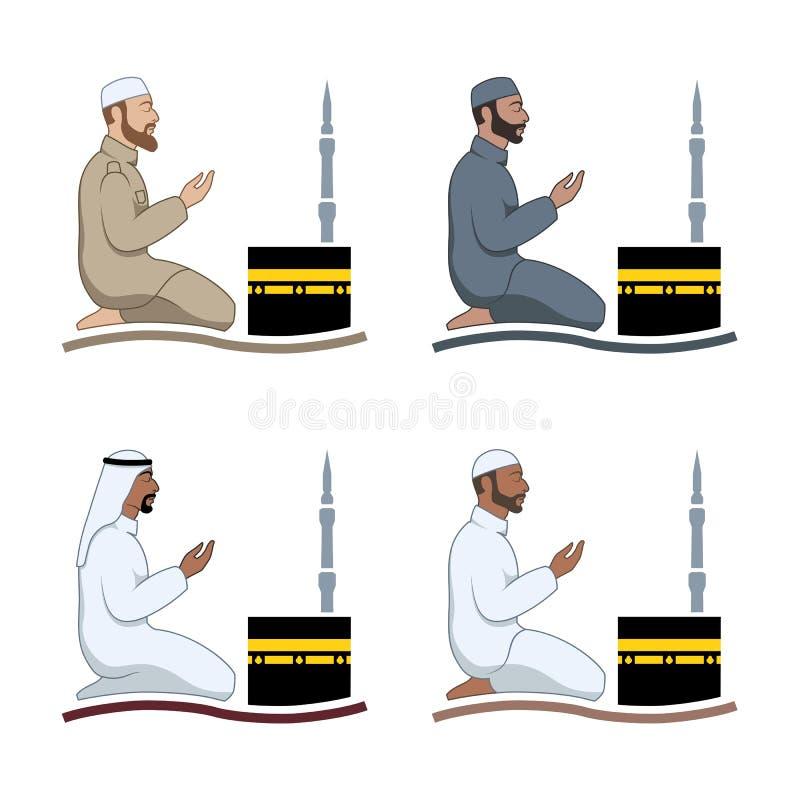 Tradycjonalnie okryty muzułmański mężczyzna robi suplice ilustracji