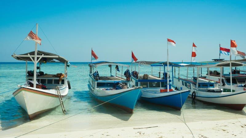 Tradycyjna łódź w rzędzie z drewnianym materiałem i Indonezja zaznaczamy zdjęcie royalty free