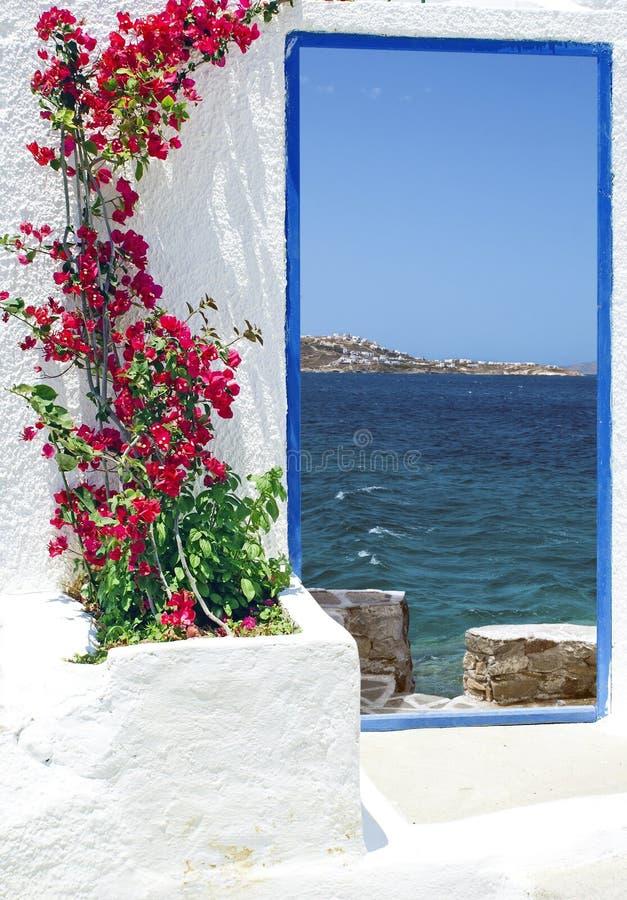 Tradycyjna architektura na Mykonos wyspie obrazy royalty free