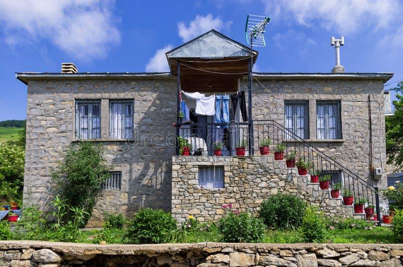 Tradycyjna architektura w Nimfaio wiosce, Florina, Grecja zdjęcia stock