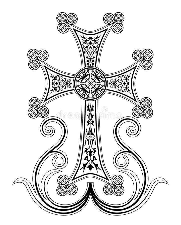 Tradycyjna Armeńska Apostolska kościół krzyża klamerki sztuka ilustracja wektor