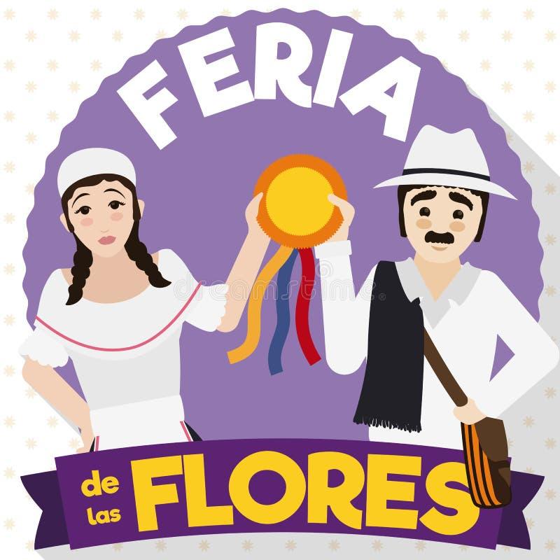 Tradycyjna Arriero pary odświętność z nagrodą w Kolumbijskim kwiatu festiwalu, Wektorowa ilustracja royalty ilustracja