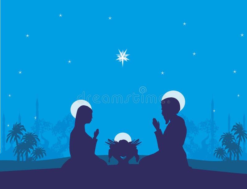 Tradycyjna Bożenarodzeniowa narodzenie jezusa scena, abstrakcjonistyczna ilustracja royalty ilustracja