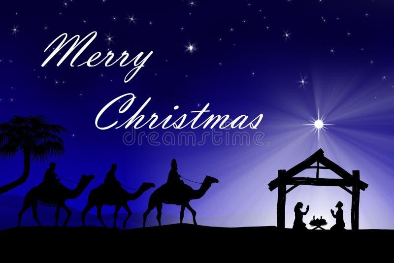 Tradycyjna Chrześcijańska Bożenarodzeniowa narodzenie jezusa scena z trzy wi royalty ilustracja